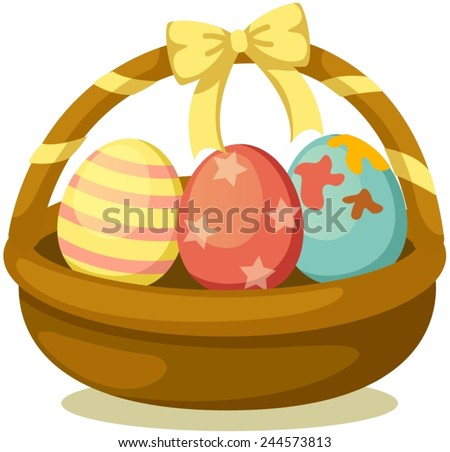 illustration of isolated basket of easter eggs on white  - stock vector