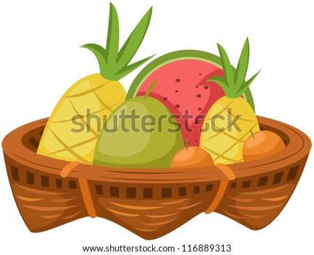 illustration of isolated basket of fruits on white - stock vector