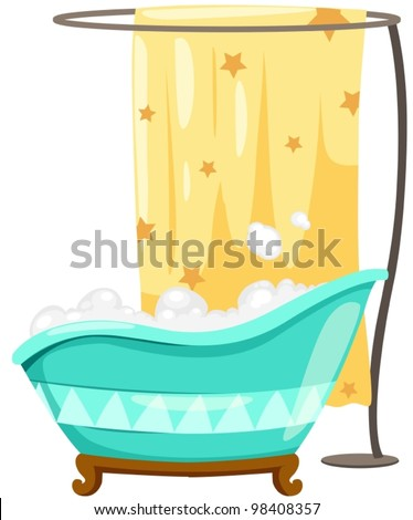 illustration of isolated bath tube with shower curtain - stock vector