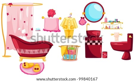 illustration of isolated bathroom icons set on white - stock vector