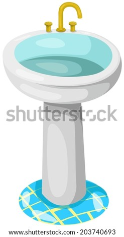illustration of isolated bathroom sink on white background - stock vector