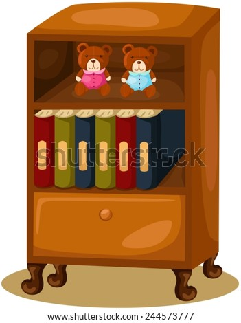 illustration of isolated bookcase on white  - stock vector