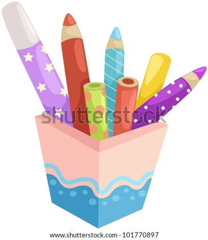 illustration of isolated box of crayons on white - stock vector