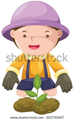 illustration of isolated boy gardening on white background - stock vector