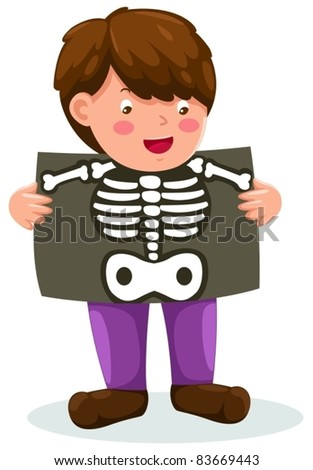 illustration of isolated boy holding x-ray on white - stock vector