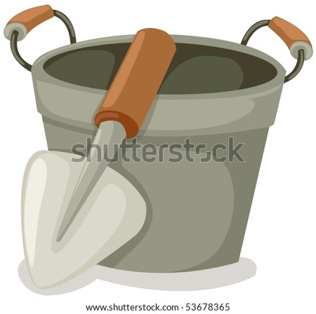 illustration of isolated bucket and shovel on white background - stock vector