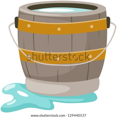 illustration of isolated bucket of water on white - stock vector