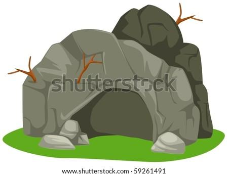 illustration of isolated cartoon cave on white background - stock vector
