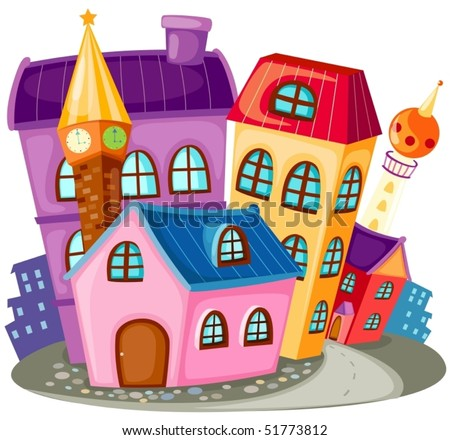 illustration of isolated cartoon city houses on white background - stock vector
