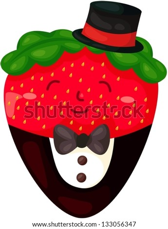 illustration of isolated cartoon strawberry with chocolate - stock vector