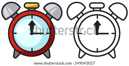 Illustration of isolated colorful and black and white clock for coloring book - stock vector