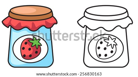 Illustration of isolated colorful and black and white jam for coloring book - stock vector