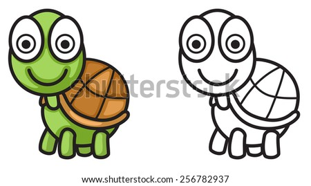 illustration of isolated colorful and black and white turtle for coloring book - stock vector