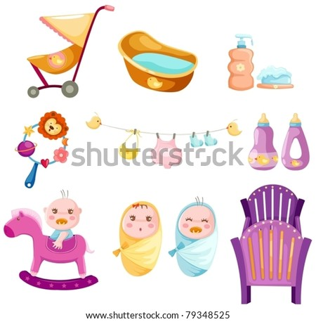 illustration of isolated colorful baby set on white background - stock vector