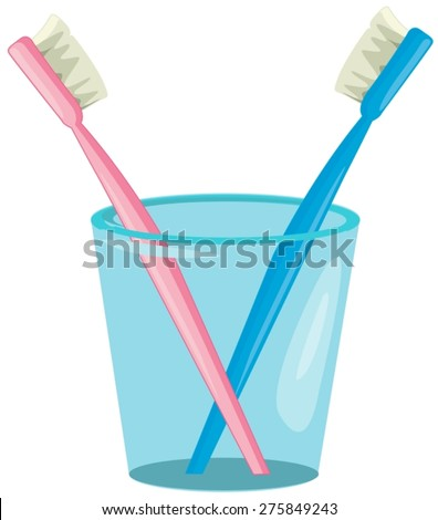 illustration of isolated  couple toothbrush in cup - stock vector