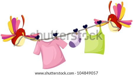 illustration of isolated cute birds with clothesline - stock vector