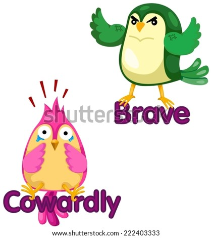 illustration of isolated cute birds with opposite words - stock vector