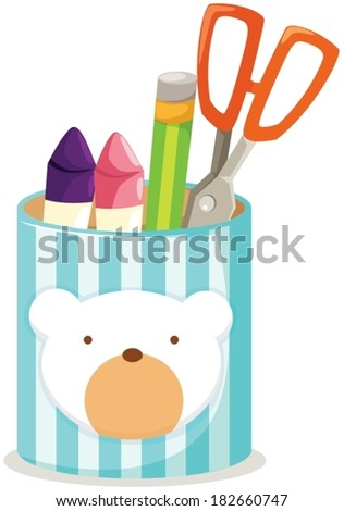 illustration of isolated cute box of pencil,scissors - stock vector