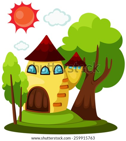 illustration of isolated cute house with sun and cloud - stock vector
