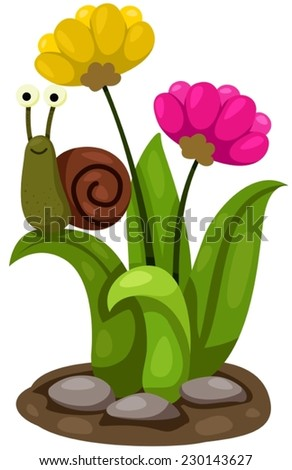 illustration of isolated cute snail with flowers - stock vector
