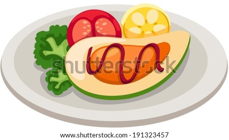 illustration of isolated dish of seafood mussel - stock vector