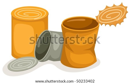 illustration of isolated empty  food cans on white background - stock vector