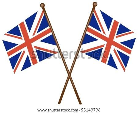 illustration of isolated flag of United kingdom on white - stock vector