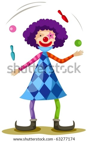illustration of isolated funny clown juggling on white - stock vector