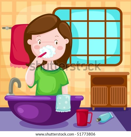 illustration of isolated girl brushing teeth in bathroom - stock vector