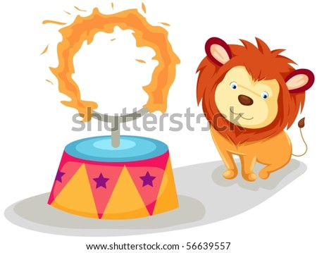 illustration of isolated lion with flaming ring on white - stock vector