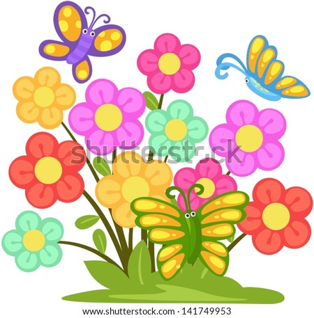 illustration of isolated lovely flower with butterflies - stock vector
