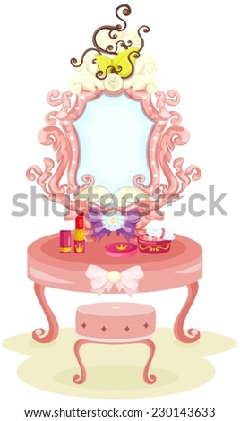 illustration of isolated luxury dressing table - stock vector