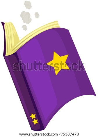 illustration of isolated magic book on white background - stock vector