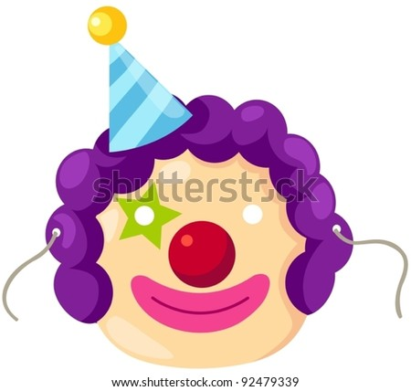 illustration of isolated mask of clown on white - stock vector