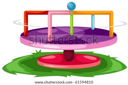 illustration of isolated merry-go-round on white background - stock vector