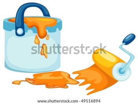 illustration of isolated paint bucket and brush on white background - stock vector