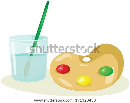 illustration of isolated palette and paintbrush in the glass  - stock vector