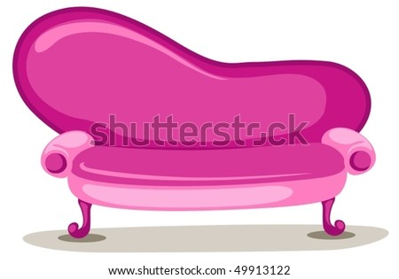 illustration of isolated pink sofa on white background - stock vector