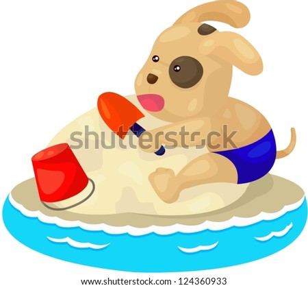 illustration of isolated puppy dog playing sand beach - stock vector