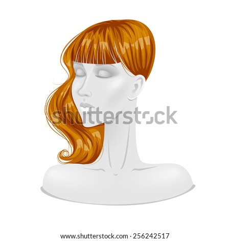 Illustration of isolated red haired wig on mannequin head. Vector. - stock vector
