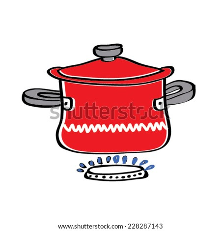 illustration of isolated red pan on white background - stock vector
