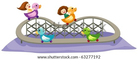 illustration of isolated rollercoaster ride on white background - stock vector