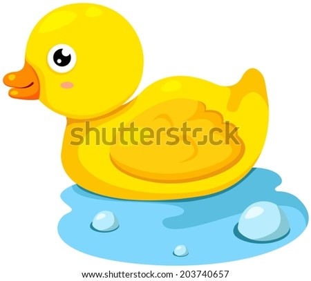 illustration of isolated rubber duck on white background - stock vector