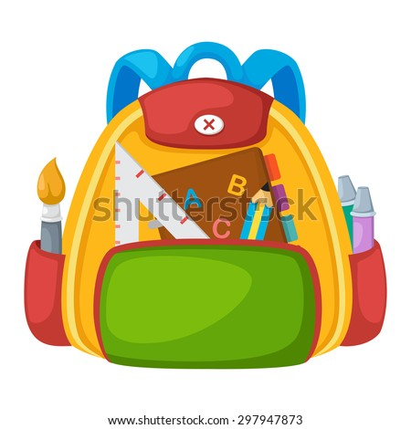Illustration of isolated school bag vector - stock vector