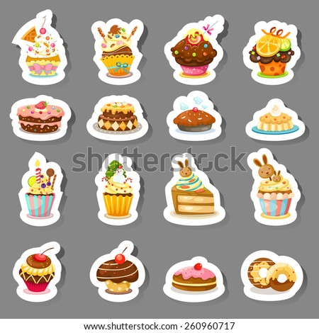 illustration of isolated set cupcake vector - stock vector