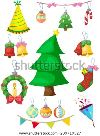 illustration of isolated set of Christmas decoration - stock vector