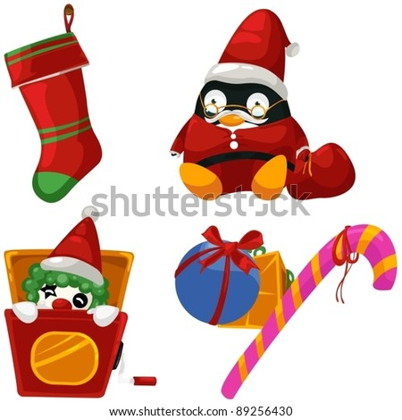 illustration of isolated set of christmas toys on white - stock vector