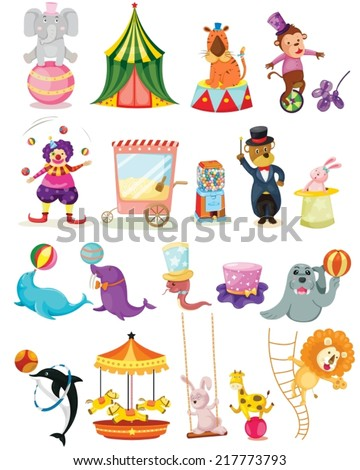 illustration of isolated set of circus on white  - stock vector