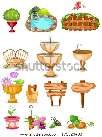 illustration of isolated set of decoration garden - stock vector
