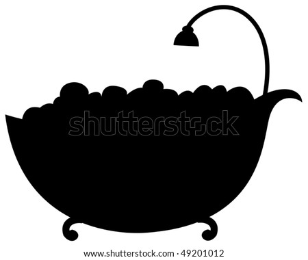illustration of isolated silhouette bathtub on white background - stock vector